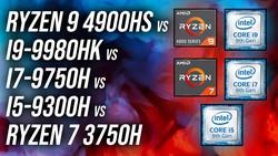 4900HS vs 9980HK vs 9750H vs 3750H vs 9300H - CPU Comparison
